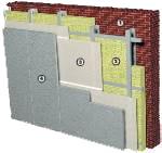 Стена с внутренним утеплением: 1 - несущая стена; 2 - утеплитель; 3 - Пароизоляция Строизол B; 4 - гипсокартон